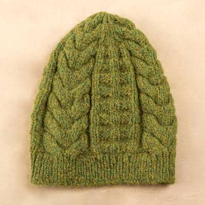 Alpaca blend hat, Warm Olive Braids