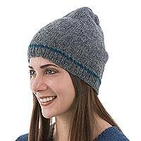 Alpaca blend hat, 'Minimalist by Design in Smoke' - Dark Grey Alpaca Blend Hat Beanie Knit by Hand in Peru