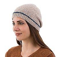 Alpaca blend hat, 'Minimalist by Design in Ecru' - Ecru and Indigo Alpaca Winter Hat Beanie Hand Knit in Peru