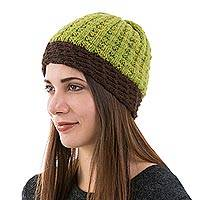 Alpaca blend hat, 'Mottled Olive' - Artisan Knit Alpaca Blend Hat in Espresso and Olive