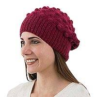 Alpaca blend wool hat, 'Burgundy Bubbles' - Burgundy Alpaca Blend Hat Original Design Knit by Hand