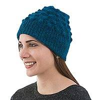 Alpaca blend wool hat, 'Teal Bubbles' - Alpaca Blend Winter Hat Knit by Hand in Peru in Teal Blue