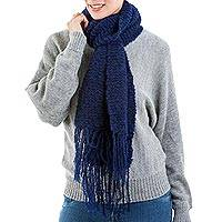 Alpaca blend neck scarf, 'Indigo Story' - Indigo Color Scarf Knitted by Hand with Soft Alpaca Wool