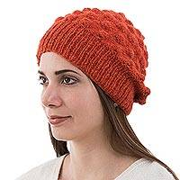 Alpaca blend wool hat, 'Tangerine Bubbles' - Alpaca Blend Orange Hat in Original Design from Peru