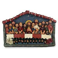Painted ceramic retablo The Last Supper Peru