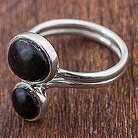 Obsidian cocktail ring, 'Nighttime Rain' - 950 Silver and Obsidian Cocktail Ring from Peru