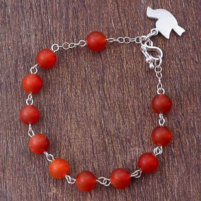 Agate beaded bracelet, 'Dove in Flight' - Red Agate and Silver Beaded Bracelet Dove from Peru