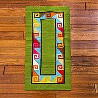 Wool area rug, 'Green Wave' (2x4) - Multicolor 2x4 Wool Area Rug Handmade in Peru