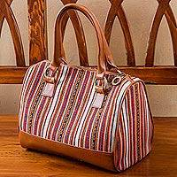 Leather accent wool blend handbag, 'Cuzco Palette' - Hand Woven Wool Blend and Leather Accent Handbag from Peru