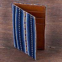 Leather accent wool blend card holder,