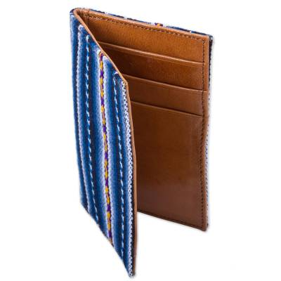 Handmade Leather and Blue Wool Blend Business Card Holder