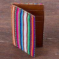 Leather and wool blend card holder, 'Ayacucho Palette' - Artisan Crafted Leather and Wool Blend Business Card Holder