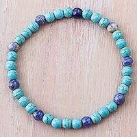 Sodalite beaded bracelet, 'Clear Ocean' - Blue Sodalite and Recon Turquoise Beaded Bracelet from Peru