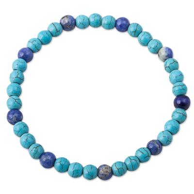 Blue Sodalite and Recon Turquoise Beaded Bracelet from Peru