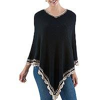 Alpaca blend poncho, 'Peruvian Night' - Alpaca Blend Poncho in Black and Ecru from Peru
