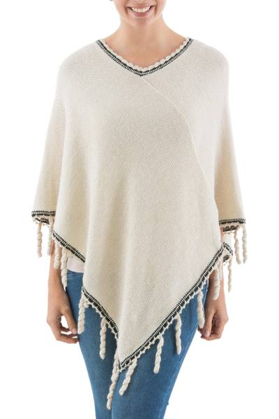 Alpaca Blend Poncho in Pale Beige and Black from Peru