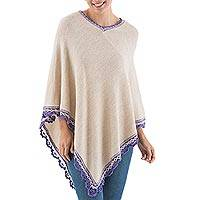 Alpaca blend poncho, 'Andean Happiness' - Alpaca Blend Poncho in Ecru and Violet from Peru
