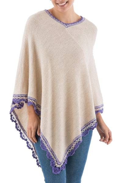 Alpaca Blend Poncho in Ecru and Violet from Peru