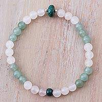Multi-gemstone beaded bracelet, 'Ocean Foam' - Rose Quartz Aventurine Sterling Silver Beaded Bracelet Peru
