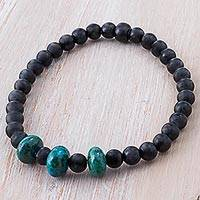 Agate and chrysocolla beaded bracelet, 'Exotic Elegance' - Chrysocolla and Black Agate Beaded Bracelet from Peru