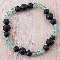 Agate and aventurine beaded bracelet,