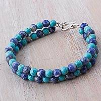 Sodalite beaded bracelet, 'Blue Duo' - Sodalite Reconstituted Turquoise Beaded Bracelet from Peru