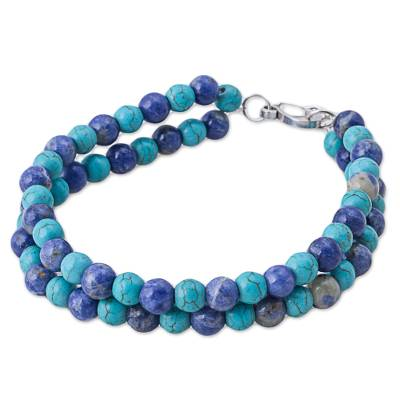 Sodalite Reconstituted Turquoise Beaded Bracelet from Peru