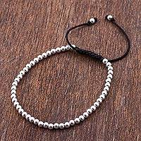 Sterling silver beaded bracelet, 'Shine Bright' - 925 Beaded Sterling Silver Bracelet Peru Artisan Jewelry