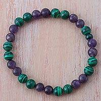 Amethyst and malachite beaded stretch bracelet,