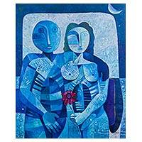 'Tribute to Love' (2015) - Cubist Portrait of a Blue Man and Woman from Peru