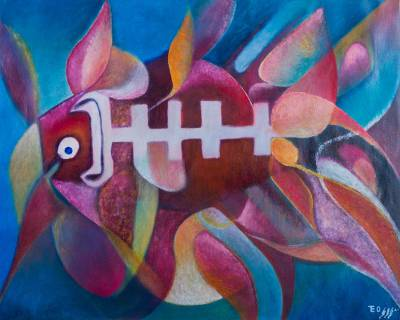 'Puffer Fish' (2015) - Peruvian Expressionist Fish Painting is Reds and Blues