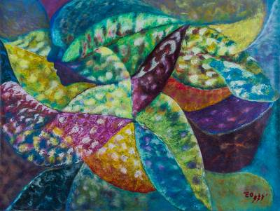 Croton Leaf Abstract Painting from Peru