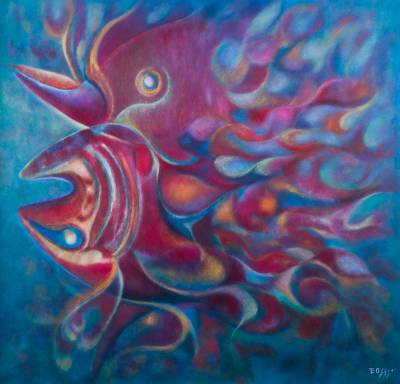 'The Red Fish in Love' (2015) - Magical Underwater Portrait of Fish in Oils from Peru