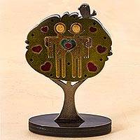 Wood and aluminum sculpture, 'Romantic Tree' - Romantic Tree Sculpture with Hearts Peru Signed Art Work