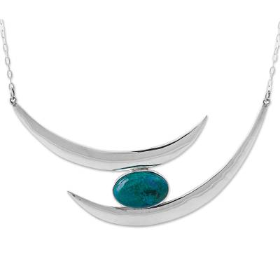 Silver and Chrysocolla Statement Necklace from Peru
