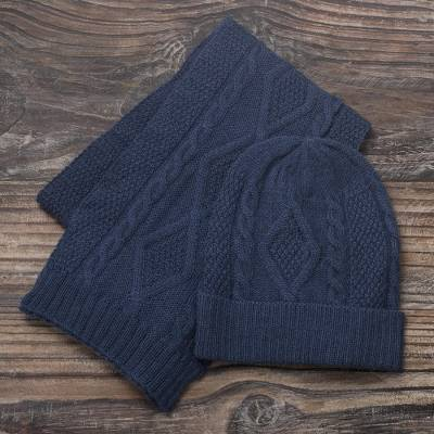 100% alpaca hat, Antique Blue Allure