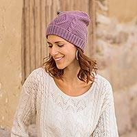 100% alpaca hat, 'Dusty Lilac Braid' - Knitted Unisex Watch Cap Dusty Lilac 100% Alpaca from Peru