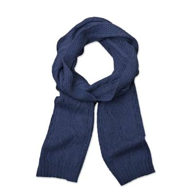 100% alpaca scarf, 'Antique Blue Allure' - Knitted Unisex Scarf in Azure 100% Alpaca from Peru