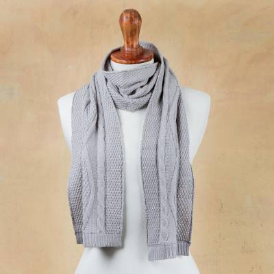 100% alpaca scarf, 'Dove Grey Braid' - Knitted Unisex Scarf in Dove Grey 100% Alpaca from Peru