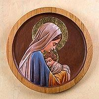 Cedar relief panel, 'Our Lady of Tenderness' - Tender Portrait of Mary and Baby Jesus Handcarved in Cedar