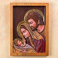 Cedar relief panel, 'Holy Family' - Holy Family Cedar Wood Wall Relief Panel Peru Christian Art