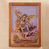 Cedar relief panel, 'Saint Michael' - St Michael Archangel Religious Wall Art Cedar Wood Panel