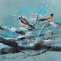 'European Goldfinches' - Blue Impressionist Oil Painting of Goldfinches in a Tree