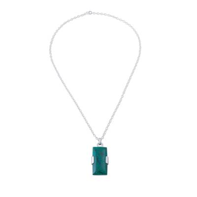 Peruvian Chrysocolla Pendant on 925 Sterling Silver Necklace
