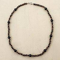 Tigers eye and agate beaded necklace Determined Beauty (Peru)
