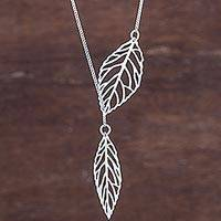 Sterling silver pendant necklace, 'Shining Leaves' - Sterling Silver Pendant Necklace Leaves from Peru