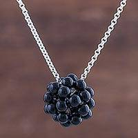 Onyx pendant necklace, 'Black Mystery' - Onyx Cluster Sterling Silver Pendant Necklace from Peru