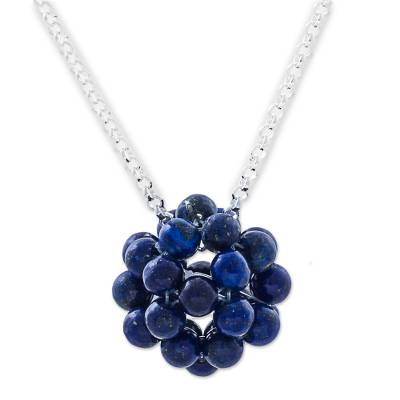Lapis Lazuli Cluster Pendant Necklace Sterling Silver Peru