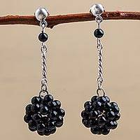 Onyx dangle earrings, 'Black Mystery' - Onyx Cluster Dangle Earrings Silver from Peru