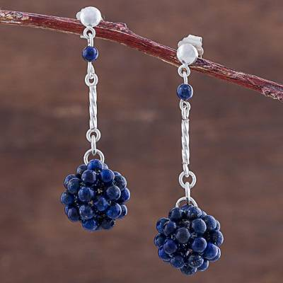 Lapis lazuli dangle earrings, 'Stellar Force in Blue' - Blue Lapis Lazuli and Silver Dangle Earring from Peru